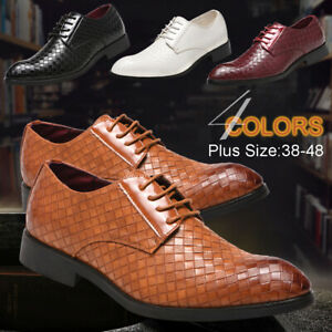 Men-Casual-Oxfords-Plaid-Leather-Shoes-Pointed-Toe-Wedding-Formal-Business-Shoes