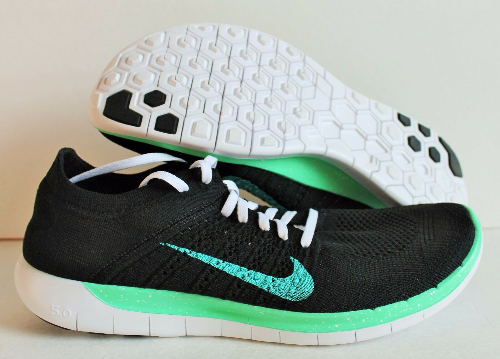 NIKE MEN FREE FLYKNIT 5.0 ID BLACK/TURQUOISE/GREEN/WHITE [653695-002]  SZ 11.5W  [653695-002] BLACK/TURQUOISE/GREEN/WHITE 8d9b32