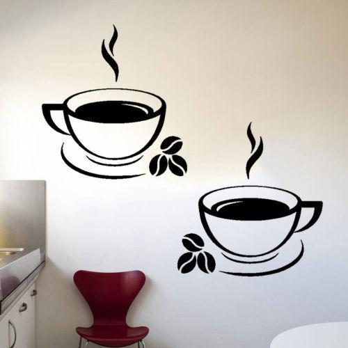2pcs Tasses De Café Cuisine Mur Autocollants CAFE Vinyle Art Décalques