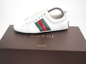 Gucci-sneakers-white-leather-red-white-stripe-men-039-s-shoe-size-US-7-EU-40-580