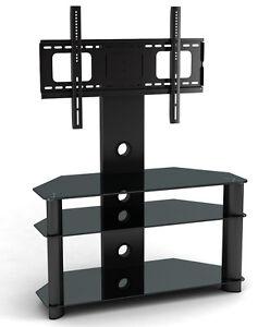NEW-Glass-TV-Stand-TV-Bracket-for-Plasma-LCD-TV-Black