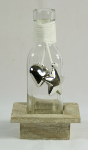 Glass Decorative Bottle in Wooden Tray With Heart and Star