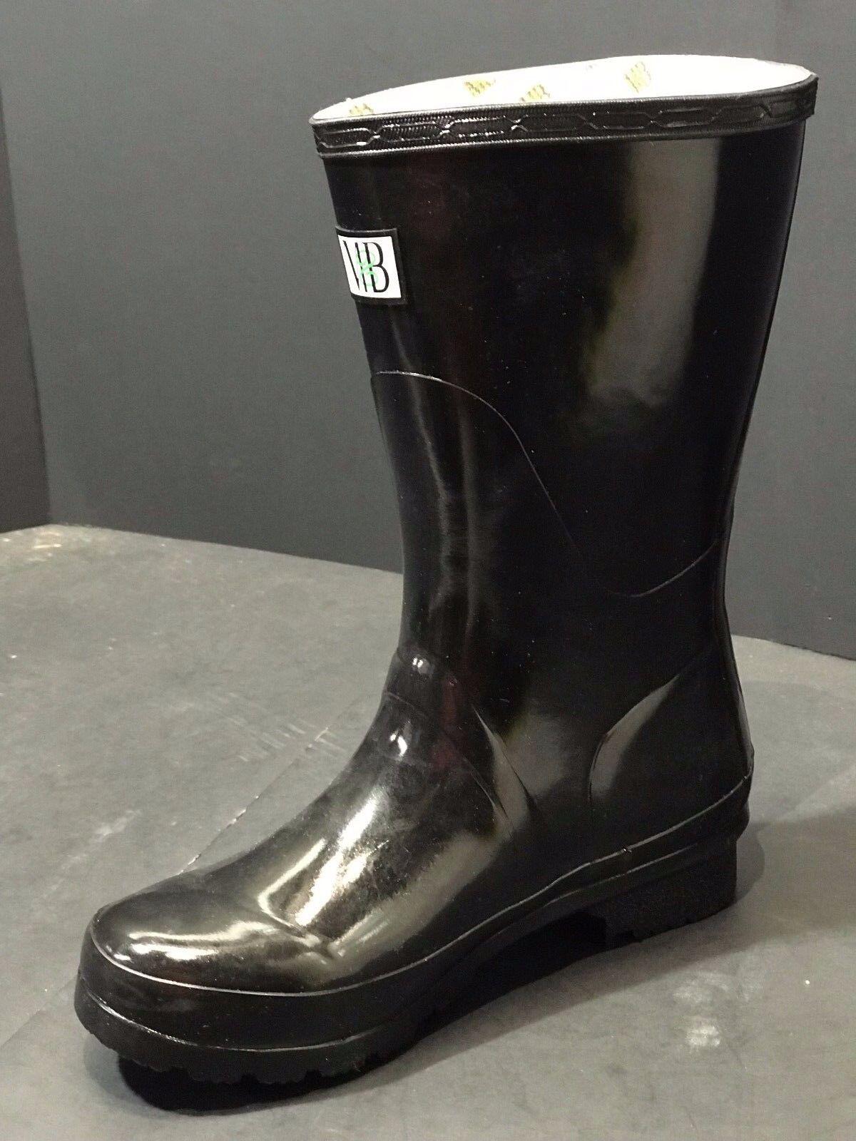 Nuevo M&B Corto Brillo Negro Lluvia botas para mujer Talla EE. UU. 5 M