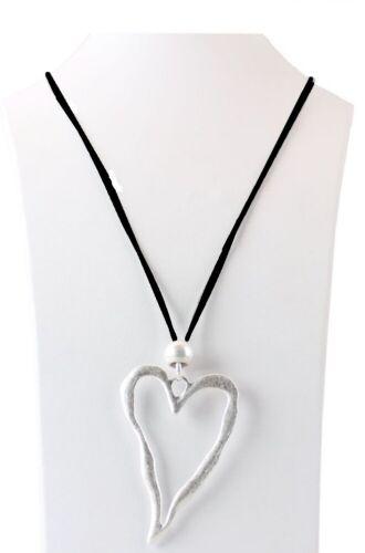 Collar cadena larga cadena collar intercambiada con remolque corazón plata mate