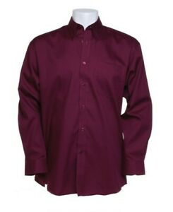 Kustom-Kit-KK105-para-Hombre-Chicos-Camisa-Mangas-Largas-Oficina-Informal-Trabajo-Borgona-Nuevo