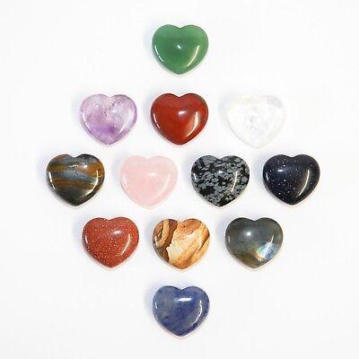 Blue Goldstone Heart 25mm Luck Fortune Success Abundance Reiki Crystal Gemstone