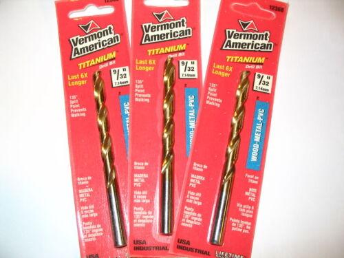 "Lot of 3 9//32/"" Vermont American Titanium Drill Bit USA"