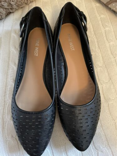 """Details about  /NINE WEST Women's Black  Leather Pointed Toe Slip On Flats Size 8M """"tansy"""""""