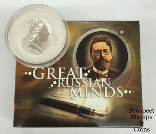 Anton Chekhov 1oz Silver Tuvalu coin 2010 Great Russian Minds