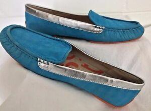 JOAN-DAVID-Shoes-DAPHALINE-Blue-Suede-Women-039-s-size-8-5-sz-8-1-2-slip-on-loafer