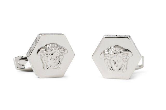 14813cdf7 Versace Hexagonal Medusa Cufflinks Head Silver Brass Metal Men's Jewelry