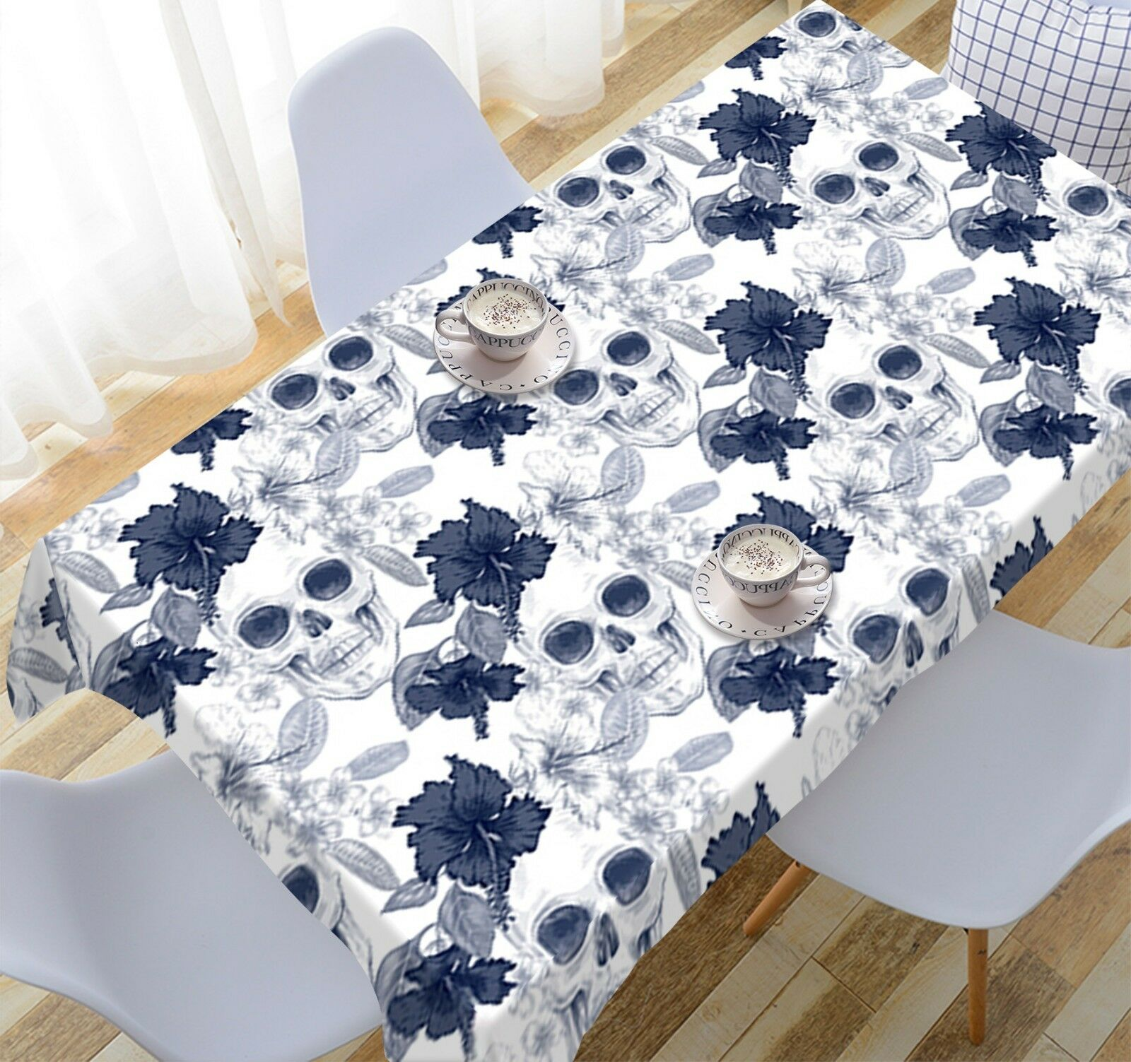 3D Sketch Skull 08 Tablecloth Table Cover Cloth Birthday Party Event AJ Jenny
