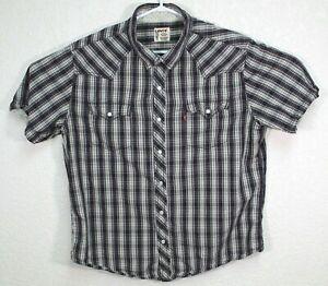 Levis-Mens-Pearl-Snap-Blue-Authentic-Western-Wear-Short-Sleeve-Shirt-Size-XL-EUC