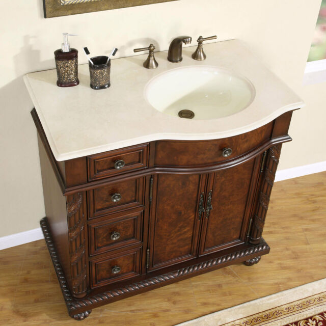 36 Marble Top Lavatory Bathroom Single Vanity Cabinet Off Center Sink 213cm R