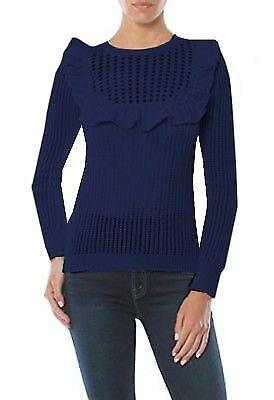 MINNIE ROSE Navy Cotton Knit Ruffle Bib Sweater Sz M 290642E