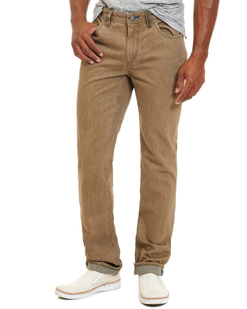 New Robert Graham Mens Classic Fit Aircraft Women Denim Khaki Jeans 35 x 34