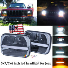 PXPART 7x6 LED Headlights 5x7 Headlight with Sequential Turn Signal White DRL Replace H6054 6054 H5054 Seal Beam Headlamp for Jeep YJ Cherokee XJ Toyota GMC Trucks