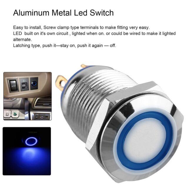 12V Metal Angel Eye LED Car Illuminated Latching 12mm Push Button Switch BU