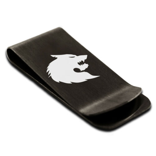 Stainless Steel Wolf Silhouette Animal Design Slim Wallet Cash Card Money Clip