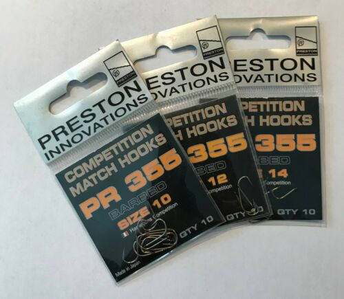Preston Innovations PR355 Competition Barbed Match Hooks Various Sizes