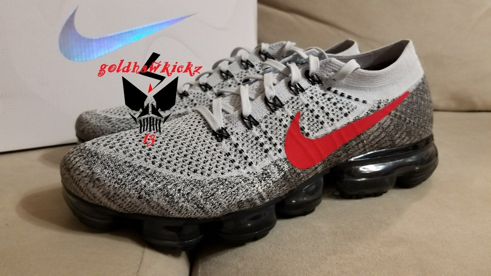 Nike Air VaporMax Flyknit OG 849558-020 Pure Platinum University Red