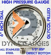 High Pressure Gauge Dual Scale 3500 Bar 50000psi 12 Bsp Bottom Connection