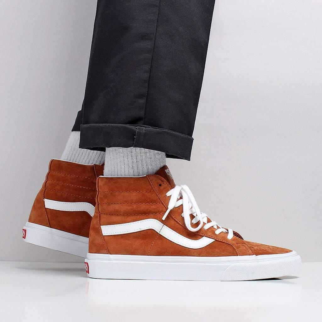 Vans SK8 HI REISSUE Pig Suede Leather Brown Men's shoes 9