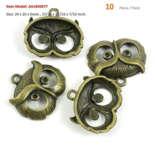 Antique Bronze Tone Jewelry Charms Owl Pendant Crafting Making Craft Supplies