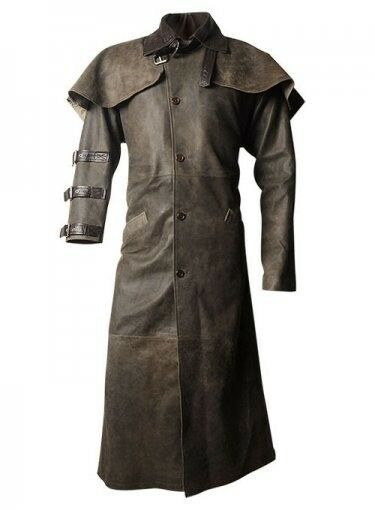 Hell-Boy Long Braun Leder Duster Coat-Style and Class As It Best