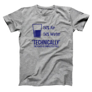 Glass-Is-Always-Full-Funny-Geek-Math-Science-Gray-Basic-Men-039-s-T-Shirt