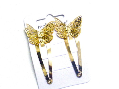Beautiful Filigree Wing Butterfly Sleepies Hair Clip Two  On A Card Clips Gold
