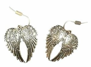 New-Adorable-Burnished-Silver-Rhodium-Plated-Pair-Angel-Wings-Feather-Earrings
