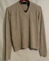 Oleg Cassini Tan V Neck Sweater Size L