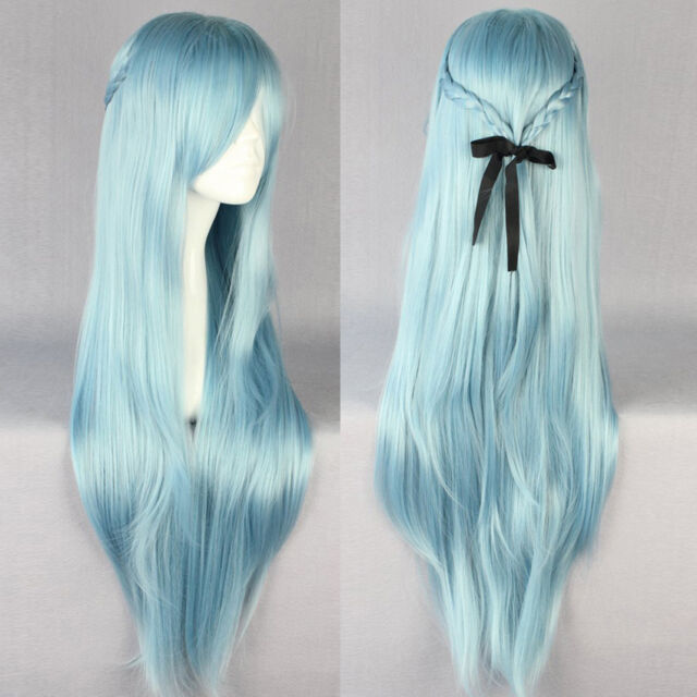 Lady Sexy Long Straight Full Wig Weave Hair Blue Lolita Anime Cosplay Costume
