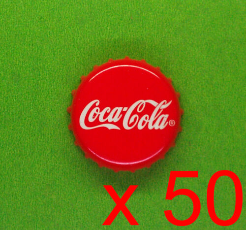 GREAT! LOT x50 Coca Cola Coke red metal crown bottle cap Craft Project NO MARKS