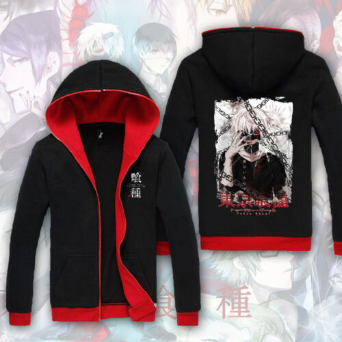 Anime Tokyo Ghoul Kaneki Unisex Hoodie Long Sleeve Coat Cardigan Black Tops #05