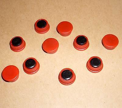 10 rote kleine Magnete Franken Durchmesser 13mm 0,13cm Bürobedarf Neu OVP