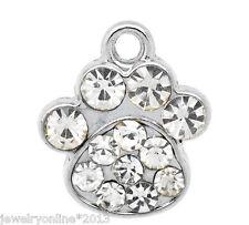 10 Weiß Strass Hundpfote Charm Anhänger Perlen Beads für Halskette 18x16mm