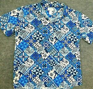 Vtg-KOLEKOLE-Hawaiian-Shirt-MADE-IN-USA-S-S-Polo-Golf-Floral-White-Blue-Men-039-s-XL