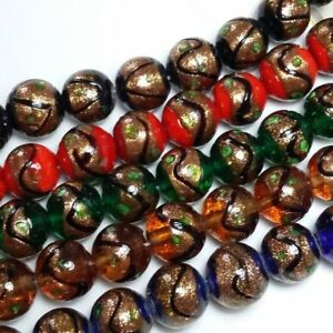 5pcs-Assorted-Gold-Glitter-Lampwork-Beads-Green-Red-Blue-Topaz-Black-N070-M
