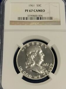 1961 NGC PF67 PROOF FRANKLIN HALF DOLLAR WHITE COINS 50 c 90/% SILVER