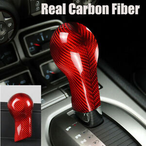 Red Gear Shift Konb Panel Cover Sticker Real Carbon Fiber For Camaro 2010-2015