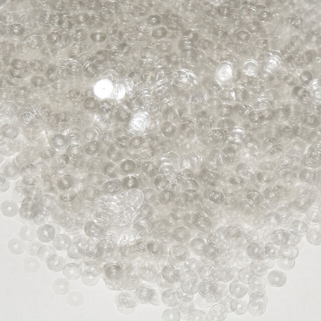4mm Flat SEQUIN PAILLETTES ~ CRYSTAL CLEAR TRANSPARENT ~ Made in USA.