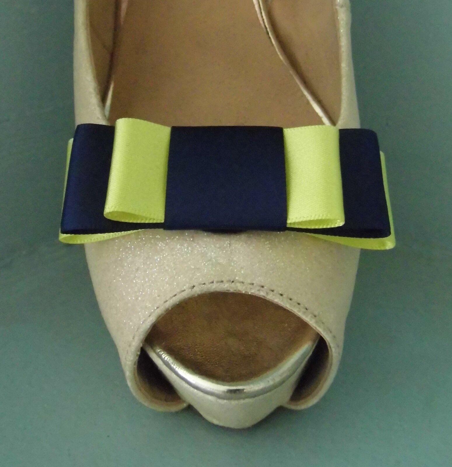 2 Handmade Navy & Lemon Triple Bow Clips for Shoes