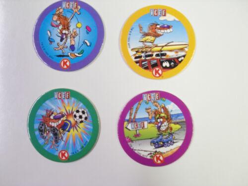ICEE CIRCLE K POG RED BACKS NUMBERED 1-4  POGS//MILKCAPS SET OF 4