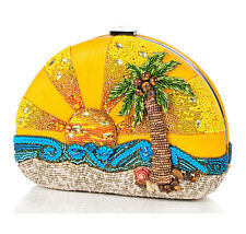 Mary Frances Handbag Here Comes The Sun Beaded Jeweled Ocean Palm Shoulder Bag