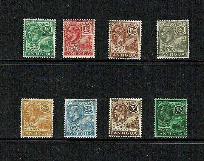 Antigua: 1921 King George V definitive, MSCA watermark, Mint, part set