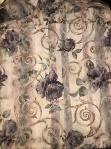 CROSCILL CASSIS GREEN AMETHYST FLORAL WINGS CHAMBORD SHOWER CURTAIN 70 X 74