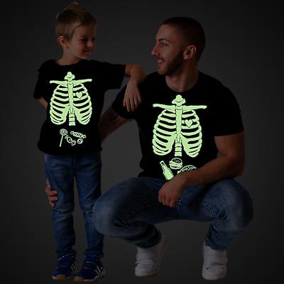 Glow in the dark Halloween Maternity Skeleton Baby Girl Matching Family Shirts