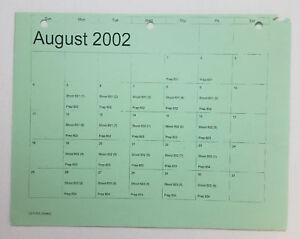 DAWSON-039-S-CREEK-set-used-paperwork-PRODUCTION-CALENDAR-schedule-page-Aug-2002